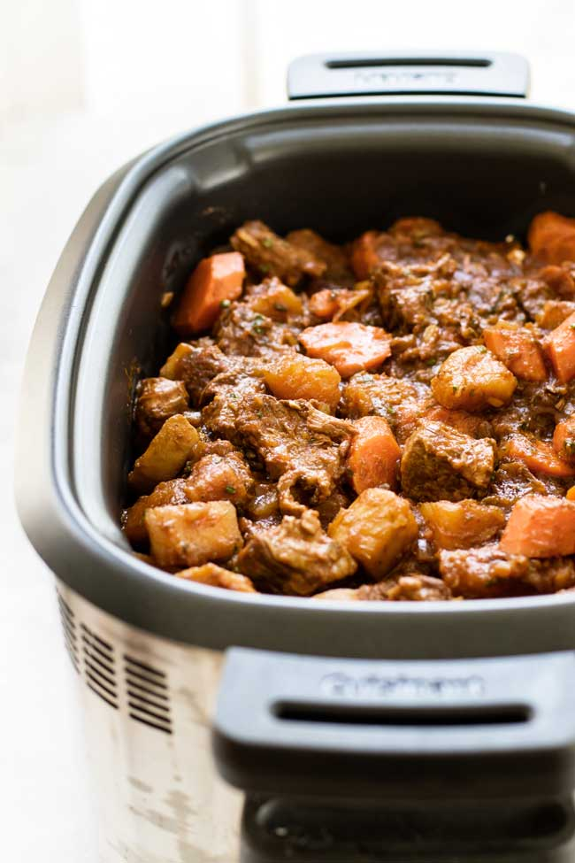 Slow Cooker Beef Stew With Spring Vegetables Girl Gone Gourmet