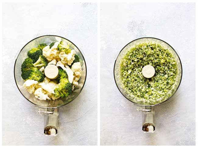How to make broccoli cauliflower rice in a food processor