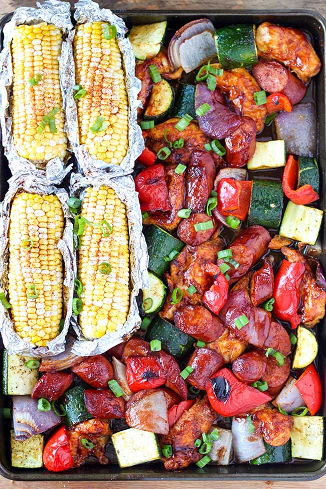 sheet pan BBQ chicken dinner