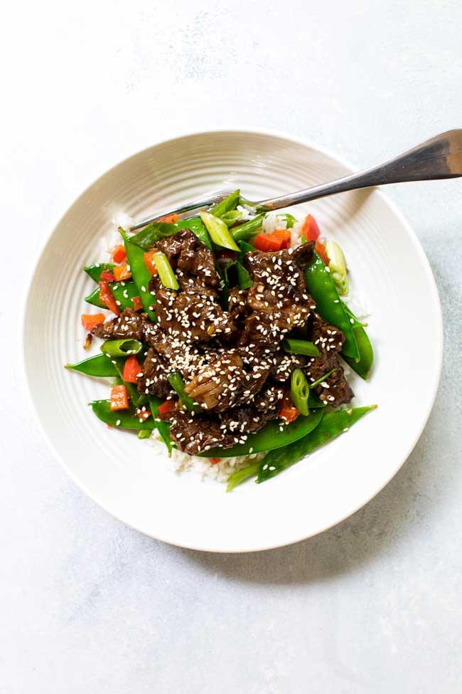 sesame beef bowls