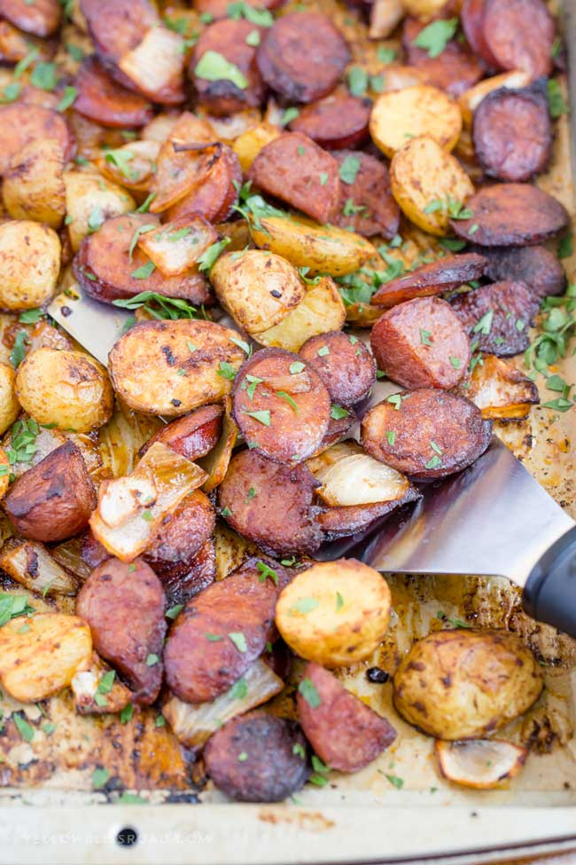 smoked sausage potato sheet pan dinner