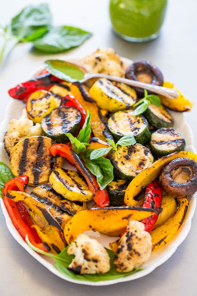 Grilled vegetables on a serving platter