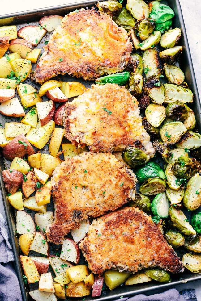 sheet pan crispy cheddar pork chops