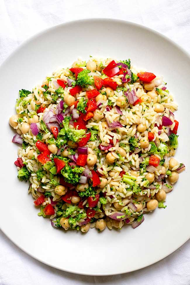 Summer Side Dishes: orzo pasta salad on a white plate