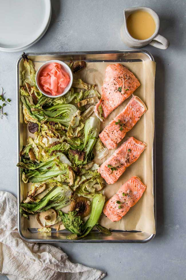 sheet pan salmon pickled ginger butter