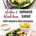chicken black bean spinach salad photo collage