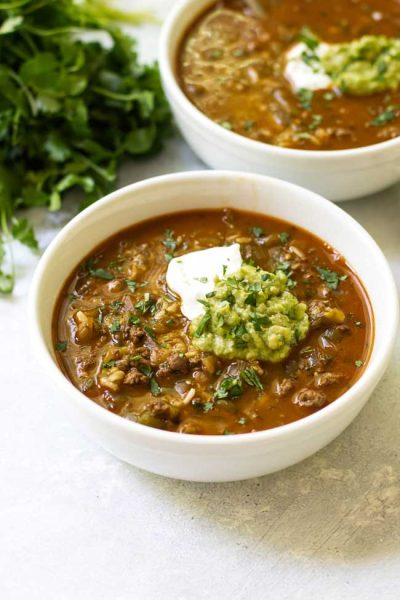 Salsa Verde Taco Soup for Two