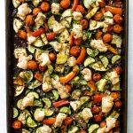 chicken ratatouille on a sheet pan