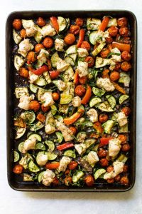 chicken ratatouille on a sheet pan