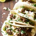 braised beef tacos with creamy salsa sauce