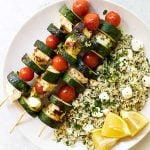 chicken kabobs with pesto rice