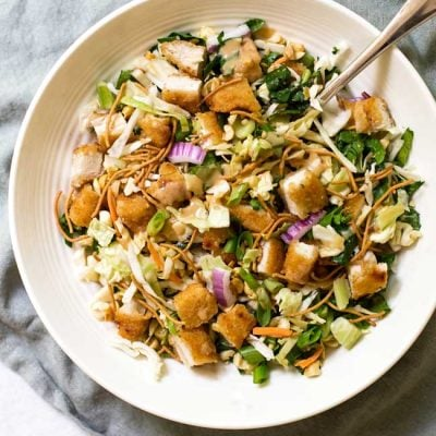 Crispy Chicken Salad with Peanut-Garlic Dressing