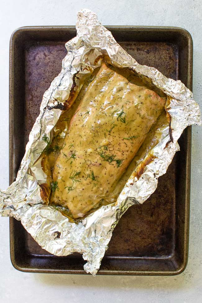 photo of salmon fillet topped with honey mustard sauce