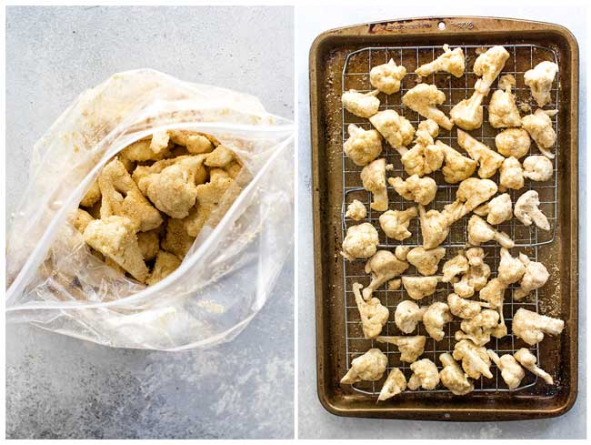 photo collage showing how to use a bag to bread the cauliflower and how to spread them on a baking sheet