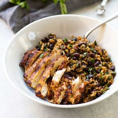 a bowl of poblano black bean rice and chicken