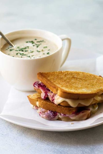 Roasted Cauliflower Soup and Cranberry Turkey Grilled Cheese