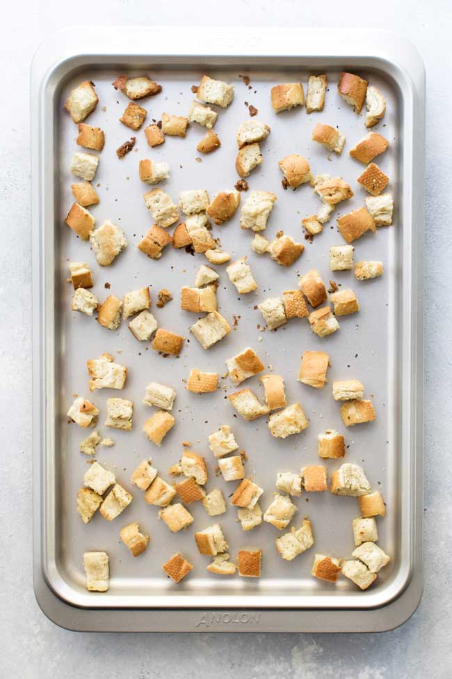 photo of croutons on a baking sheet