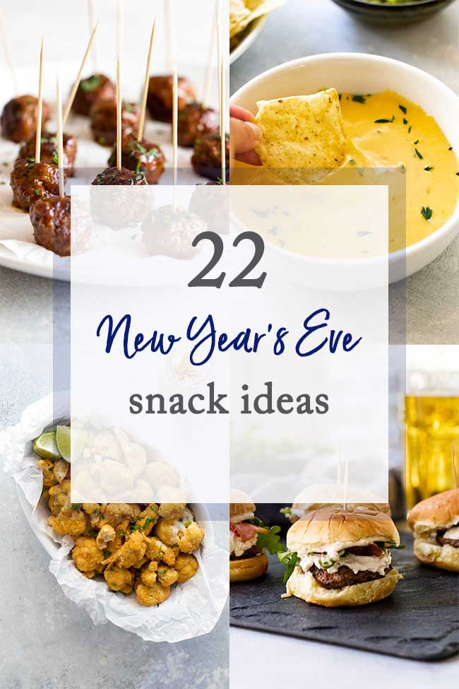 photo collage of new years snack ideas