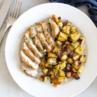 Sheet Pan Pork Chops with Honey Mustard Parsnips