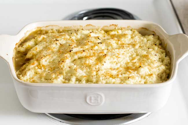 photo of a shepherds pie in a baking dish