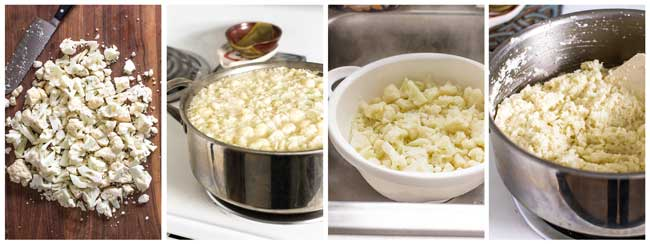 photo collage showing steps for making the cauliflower mash