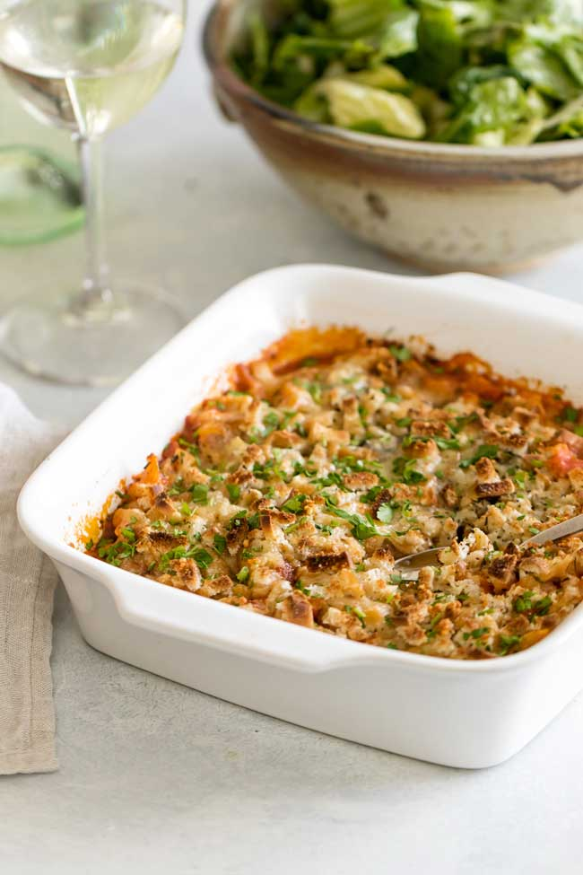 photo of a baked chicken parmesan casserole
