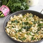 photo of a skillet of broccoli rabe pasta