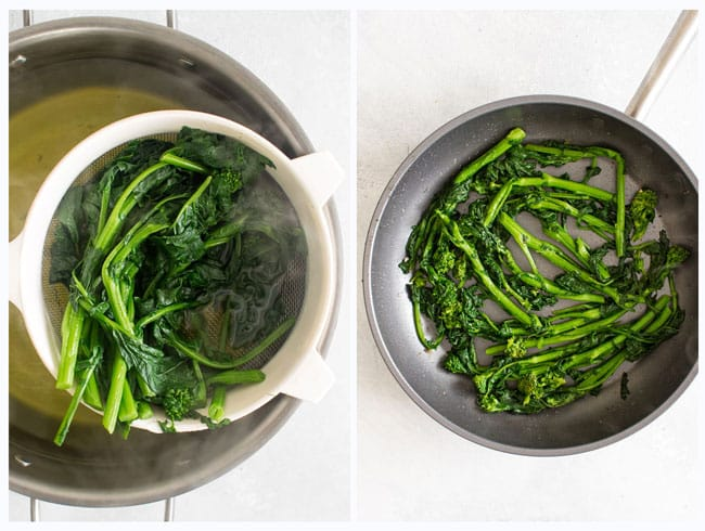 Photo collage showing the boiled broccoli rabe and the broccoli rabe being sauted in a skillet