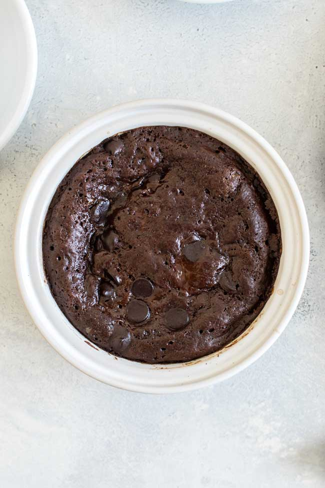 Overhead photo of a mocha pudding cake in a baking dish