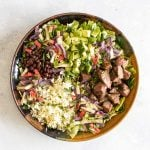 overhead photo of steak taco salad