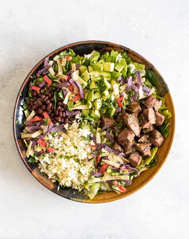 overhead photo of a steak taco salad