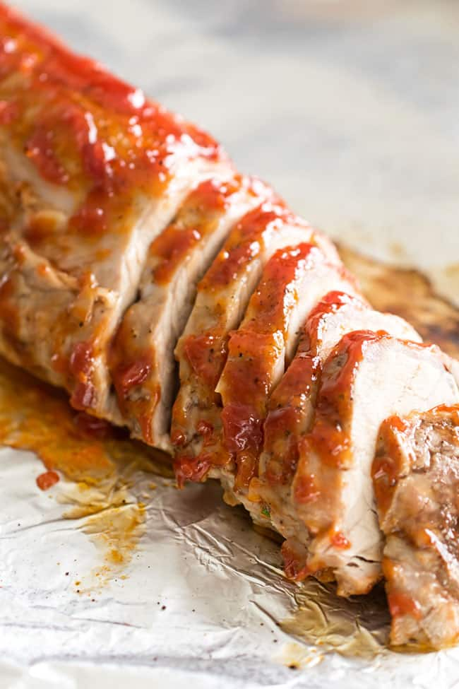 close-up photo of a slice pork tenderloin