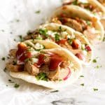 close up photo of bbq pork tenderloin tacos