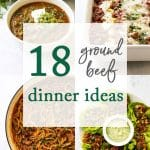 phoyo collage of ground beef recipes