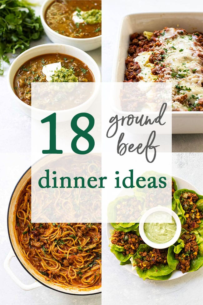 photo collage of ground beef recipes