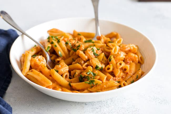 photo of a bowl of shrimp penne with vodka sauce