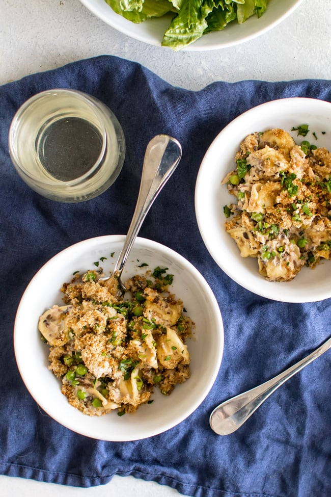 overhead photo of two bowls tuna casserole