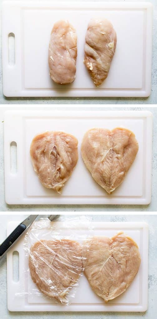 photo collage showing steps for prepping the chicken