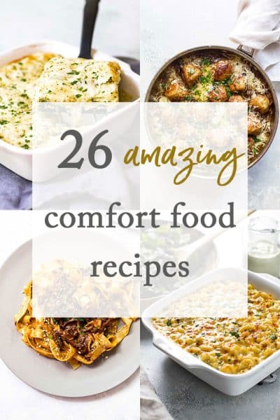 photo collage of comfort food recipes