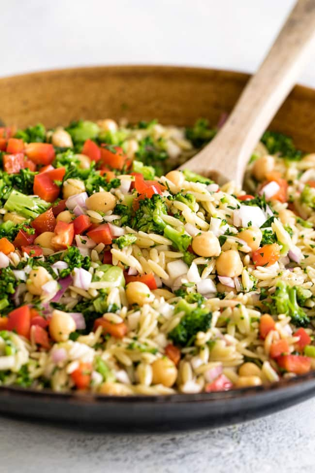 close-up photo of orzo pasta salad