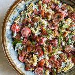 overhead photo of blt pasta salad