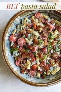 overhead photo of blt pasta salad