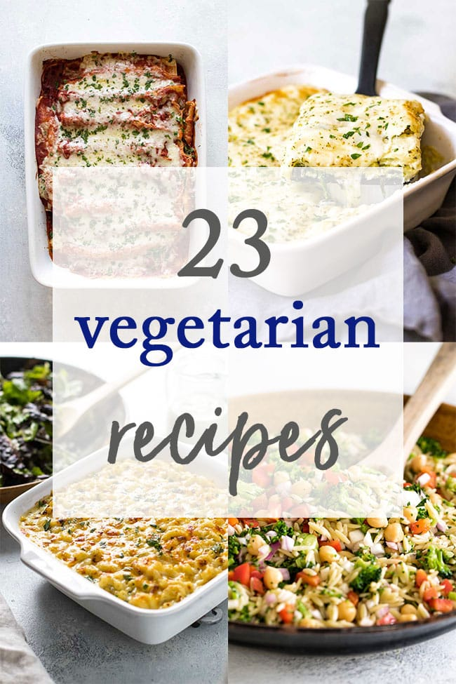 photo collage of vegetarian recipes