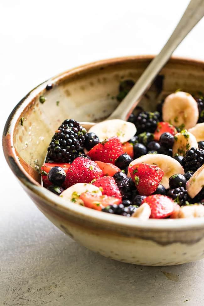 close-up photo of a bowl of fruit salad