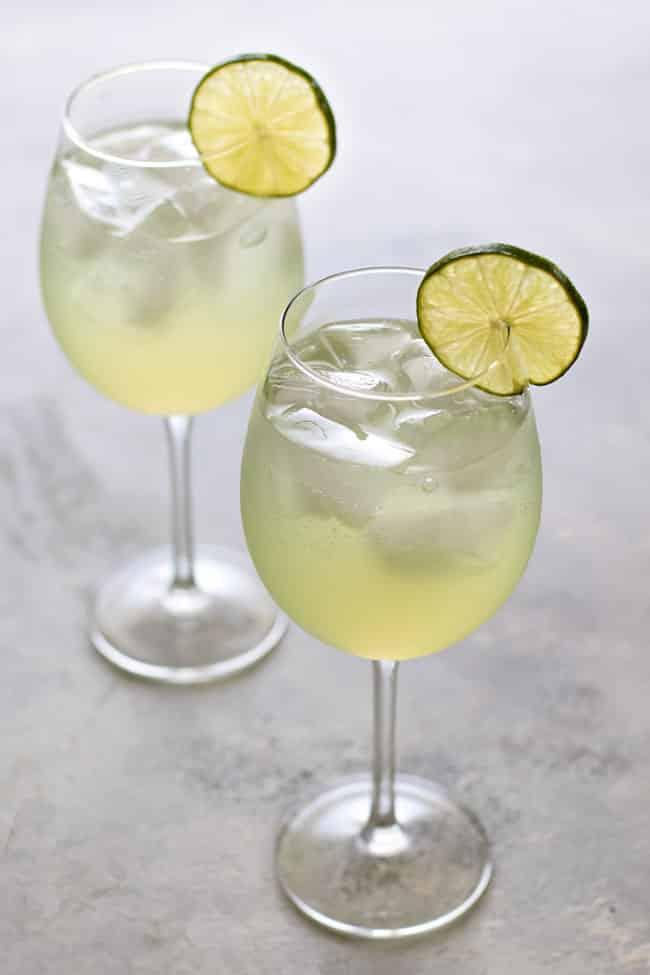 two margarita wine spritzers