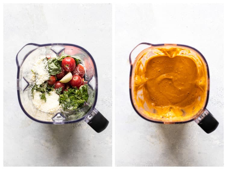 photo collage showing ingredients in the blender and after they are blended in a creamy sauce