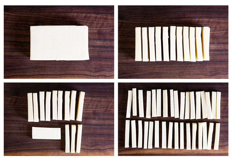 "process steps showing how to slice the cheese into 1/2"" sticks"