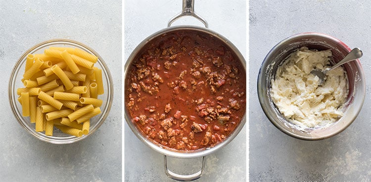 photo collage showing the pasta, sauce and cheese filling