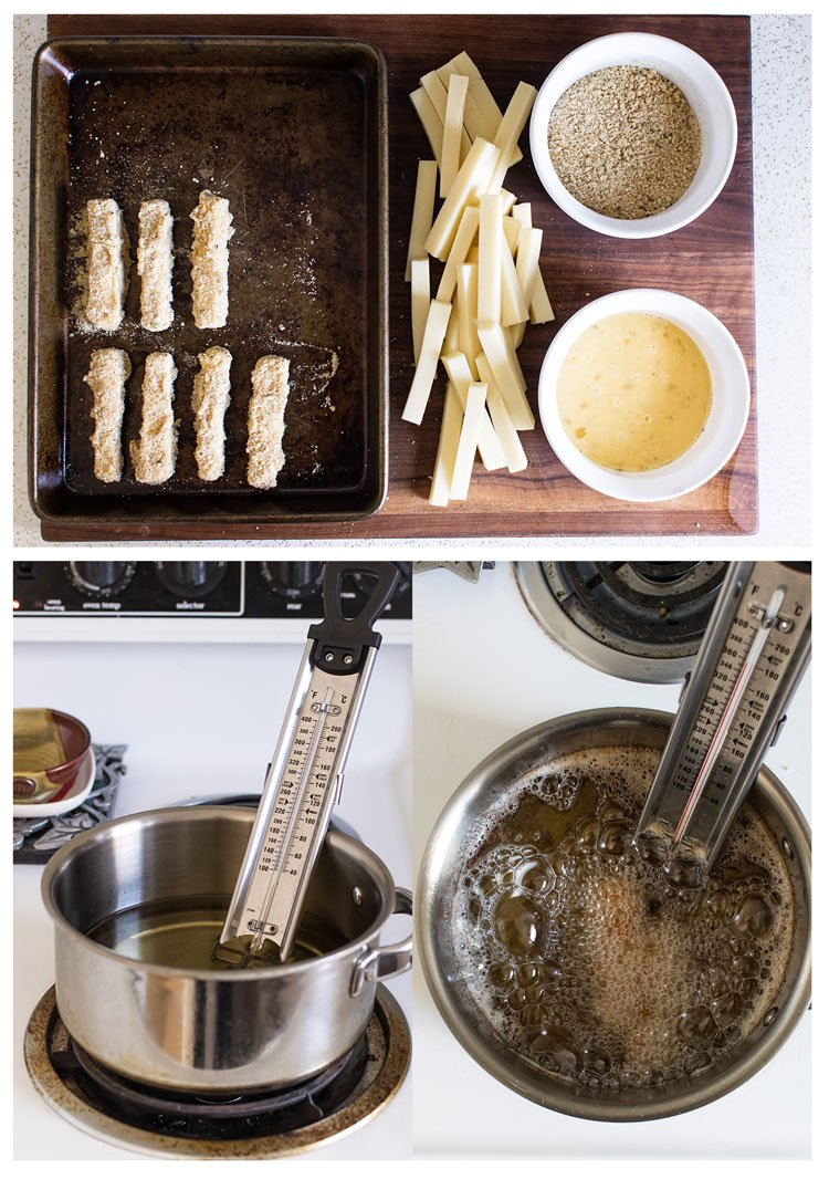 process steps showing how to bread the cheese sticks, the pot with thermometer, and cheese sticks frying in oil