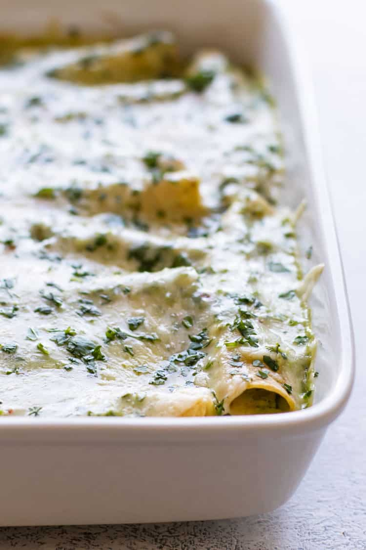 close up photo of a pan of chicken enchiladas